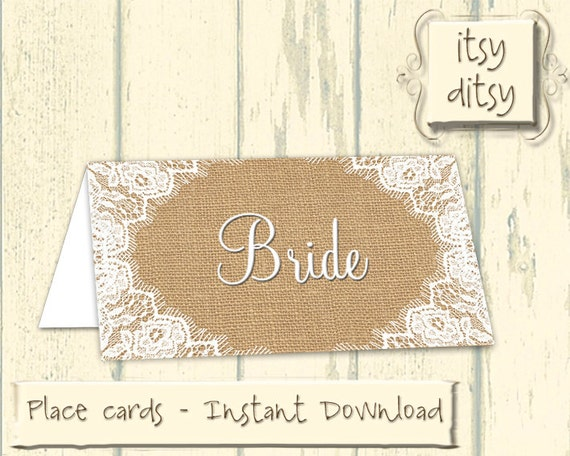 Rustic placecards printable wedding burlap lace name cards for Wedding place name cards