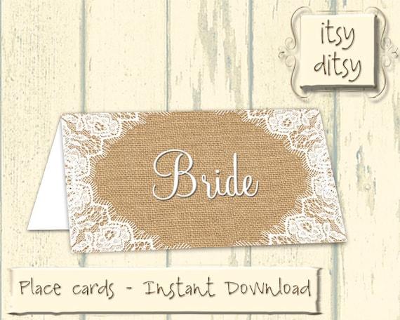 Rustic placecards printable wedding burlap lace name cards for Wedding place name cards