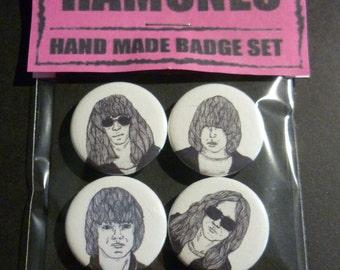 "The Ramones Handmade 1"" Button Badge Set"