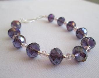 Purple and Pink Crystal Bracelet