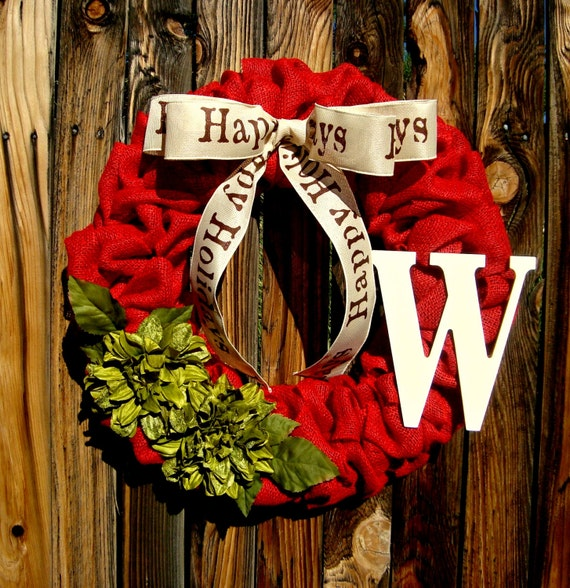 Items similar to red burlap christmas wreath with monogram for Burlap christmas curtains
