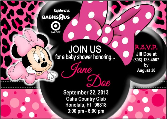 Baby Minnie Baby Shower Invite por TrinityHopeDesigns en Etsy