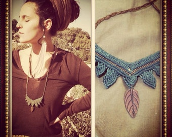 Made by order Jungle queen TRIBAL Macrame Necklace ,brass beads, hippie bohemian Gypsy Feather necklace