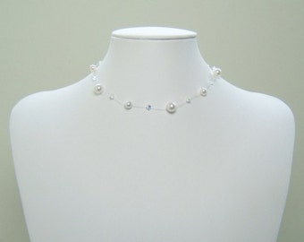 ANY COLOUR Illusion Wedding Necklace, Floating Necklace, Bridesmaid Necklace, Delicate Crystal and Pearl Wedding Necklace, Swarovski