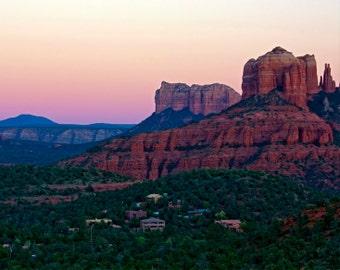 Sunset in Sedona Photography - Travel, Cathedral Rock, Sedona, Arizona, Wall Art - Sedona Pink Sunset - 8x10