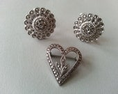 Vintage Marcasite Floral Earrings and Sterling Silver Heart Pin Screw Backs Brooch Silver Tone - CafeChaCha
