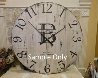 "42"" Custom Personalized Distressed Handmade Clock - free shipping*"