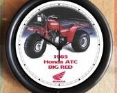 1985 HONDA ATC BIG red Big 10 inch black wall clock  Ships Tomorrow