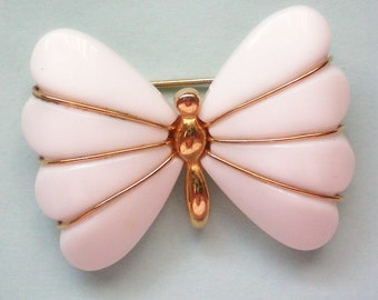 Trifari Lucite White Butterfly Pin - 3010