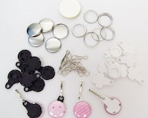 """100 Black or White  1"""" Versa Back Zipper Pull Complete Button Parts - for use with Tecre 1"""" Button Maker Machine"""
