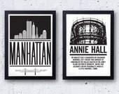 Woody Allen Poster Set - Annie Hall & Manhattan - original bestplayever prints - Diane Keaton - 20% OFF!