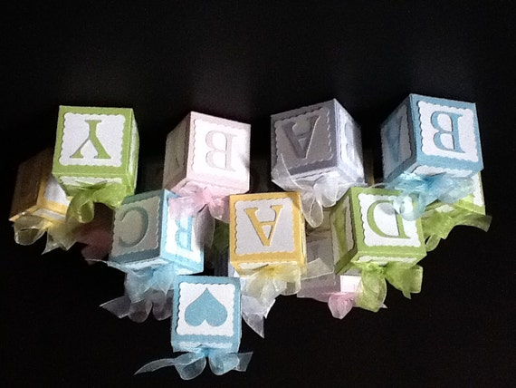 Items Similar To Baby Block Baby Shower Favor Boxes On Etsy