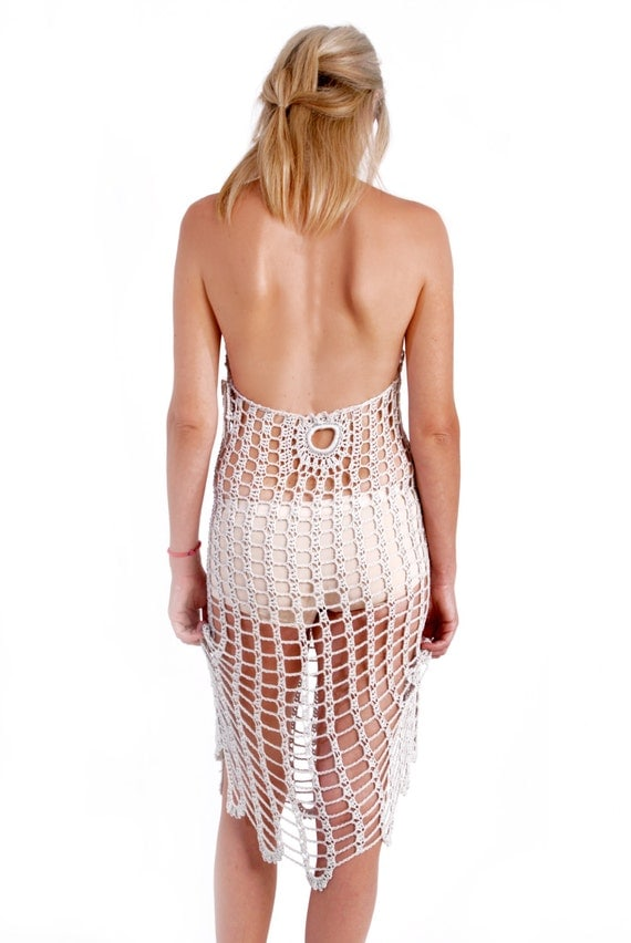 Crochet dressice mesh dress swimsuit cover up woman wedding for Cover up wedding dress