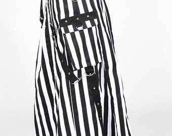 QUEENS SKIRT Black And White Stripe