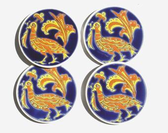 Retro Ceramic Coaster, Blue Coaster, Blue  Ceramic, Drink Coaster, Greek Art, Pottery Coaster, Tile Coaster
