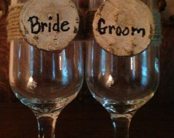 Rustic Wedding Wine Glasses