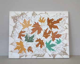 Original painting Maple Autumn Plane Leaves  Framed (55 x 43 cm) Brown Yellow Green on White Silk Paintings Ooak  One Off a Kind