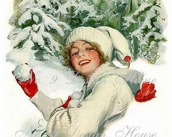 Printable Digital Download Harrison Fisher Snowballs, Vintage Image,Card Making,Altered Art, Mixed Media, Digital Gift Tags, Transfer Images