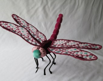 Dragonfly Art - Wall Hanging - Home Decor - Housewarming Gift - Bridesmaid Gift - Birthday Gift - Mauve Velvet