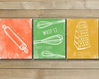KITCHEN ART TRIO - inspirational quote art poster - kitchen art printable - kitchen wall art - whip it quote - kitchen decor - art print
