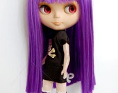 Purple straight Wig for Blythe and American Girl Dolls