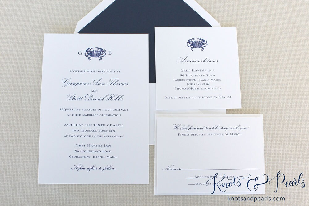 Wedding Invitations In Maryland: Crab Monogram Wedding Invitation Maryland Crab Wedding