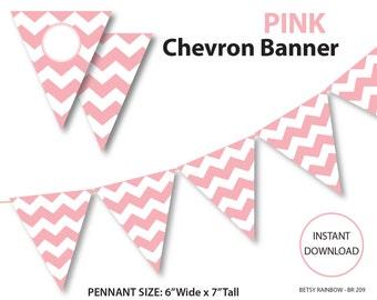 Pink banner, bunting banner, chevron banner, pink chevron banner, printable banner, DIY party, pink pennants  - BR 209