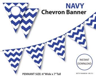 Navy blue  banner, chevron banner, blue chevron banner, printable banner, DIY party  - BR 212