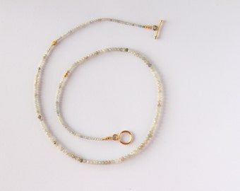 Jewlery: Single Strand, Graduated, Raw Champagne Diamond Necklace with Gold Plated Toggle Clasp. Limited Edition