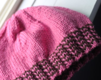 Candy Pink and Dark Chocolate Hat