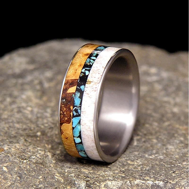 Wooden And Silver Wedding Rings