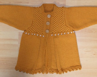 Baby girls cardigan, jacket, coat, sweater. Merino wool. 6-12 months. Amber, gold, yellow