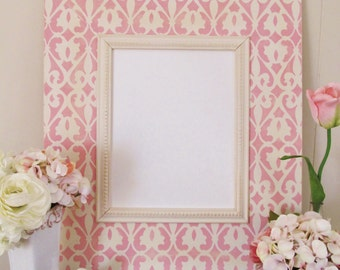 Distressed Frame 11x14 with Scroll Pattern in Ballet Pink and Cream with Beaded Trim