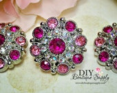 Rhinestone Buttons Pink - Large VIntage Style Crystal Rhinestone Embellishments Acrylic Flower center buttons Headband Supplies 28mm 451040