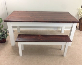 Farmhouse Table / Farm Table (Red Mahogany/White)