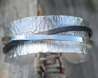Organic sterling silver cuff bracelet with blackened silver