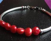 Red Cultured Pearl Bracelet *ON SALE 30% OFF*