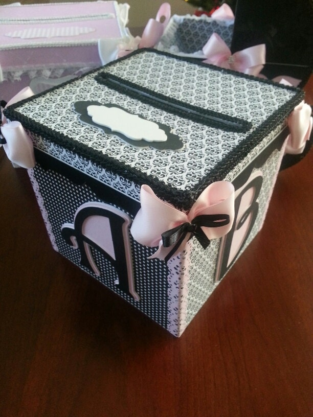 Pink And Black Money Card Box Baby Shower Card Box Baby