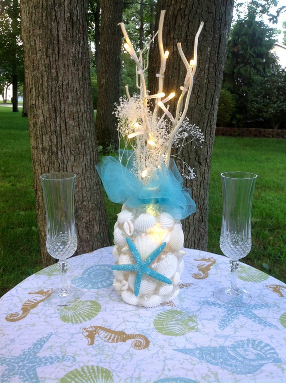 Turquoise Beach Wedding Decor Starfish Shells By BeachBasketBride