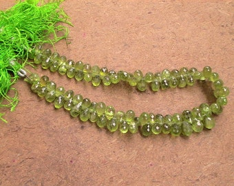 5 TO 7 mm - 60 Pcs  mm Peridot Briolette Faceted drops--AAA Quality-