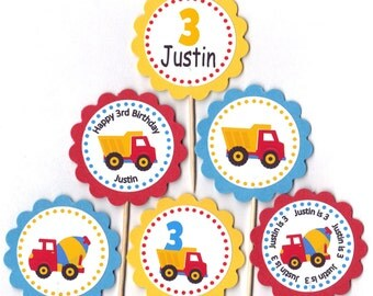 Personalized Construction Cupcake Toppers Birthday Party Decorations Set of 12 Dump Truck Cement Truck