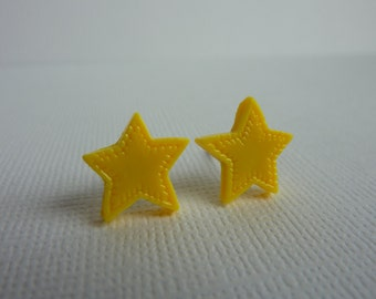 Yellow Star Stud Polymer Clay Earrings, Star Cabochons on Nickel Free Posts