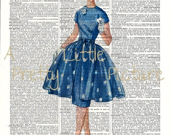 Dictionary Page Vintage Lady in Blue Short Dress Lovely Shabby Chic Feminine Room Decor Original Mixed Media Retro Art Work Print #242