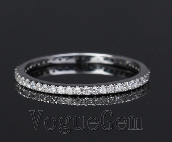 VogueGem Simple Thin Solid 14K White Gold Diamond Pave Wedding Eternity Band Ring