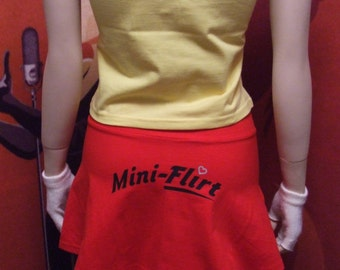 Size small red miniflirt with print on back