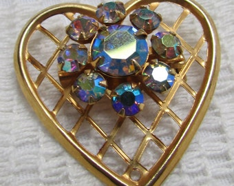 vintage 60's heart with AB  rhinestones heart  Valentine  pin brooch