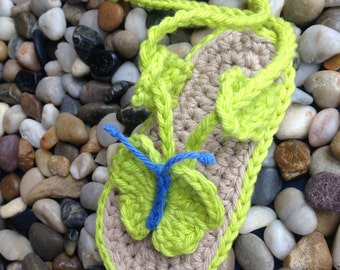 Crochet Pattern * Baby Beach sandals with Butterfly  * Instant Download Pattern # 428 * double sole *+ a gift