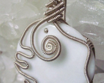White Onyx Pendant Wrapped in Silver Coils