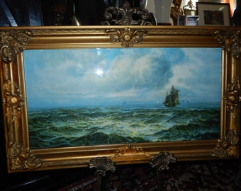 ANTIQUE SHIP PRINT in Ornate Frame