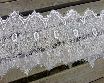 3.3 Yards Width 28cm Exquisite Wide Off White Eyelash Lace Trim Soft Chantilly Lace